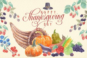 Thanksgiving watercolor clipart set