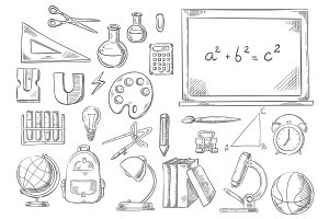 Back to school study supplies vector sketch icons