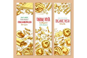 Pasta and Italian macaroni vector banners set