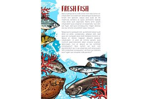 Vector poster of fresh fish or sea food