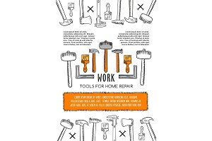 Vector poster of work tools for house repair