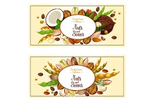 Vector banners of nuts and fruit kernels