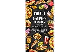Fast food restaurant vector menu