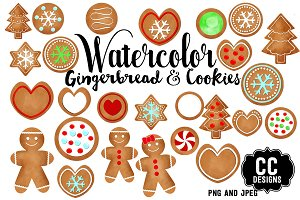Watercolor Gingerbread Cookie Art