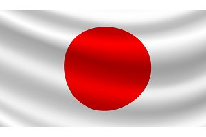 Vector flag of Japan. Japanese national symbol