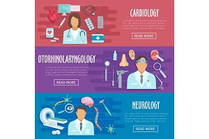 Neurology cardiology doctor vector medical banners