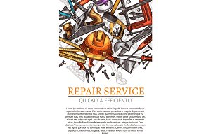 Work tools vector poster for repair service