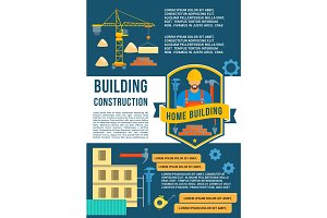 House construction and building vector poster