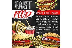 Fast food vector poster for fastfood restaurant