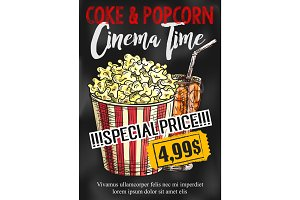 Fast food popcorn and coke vector cinema poster