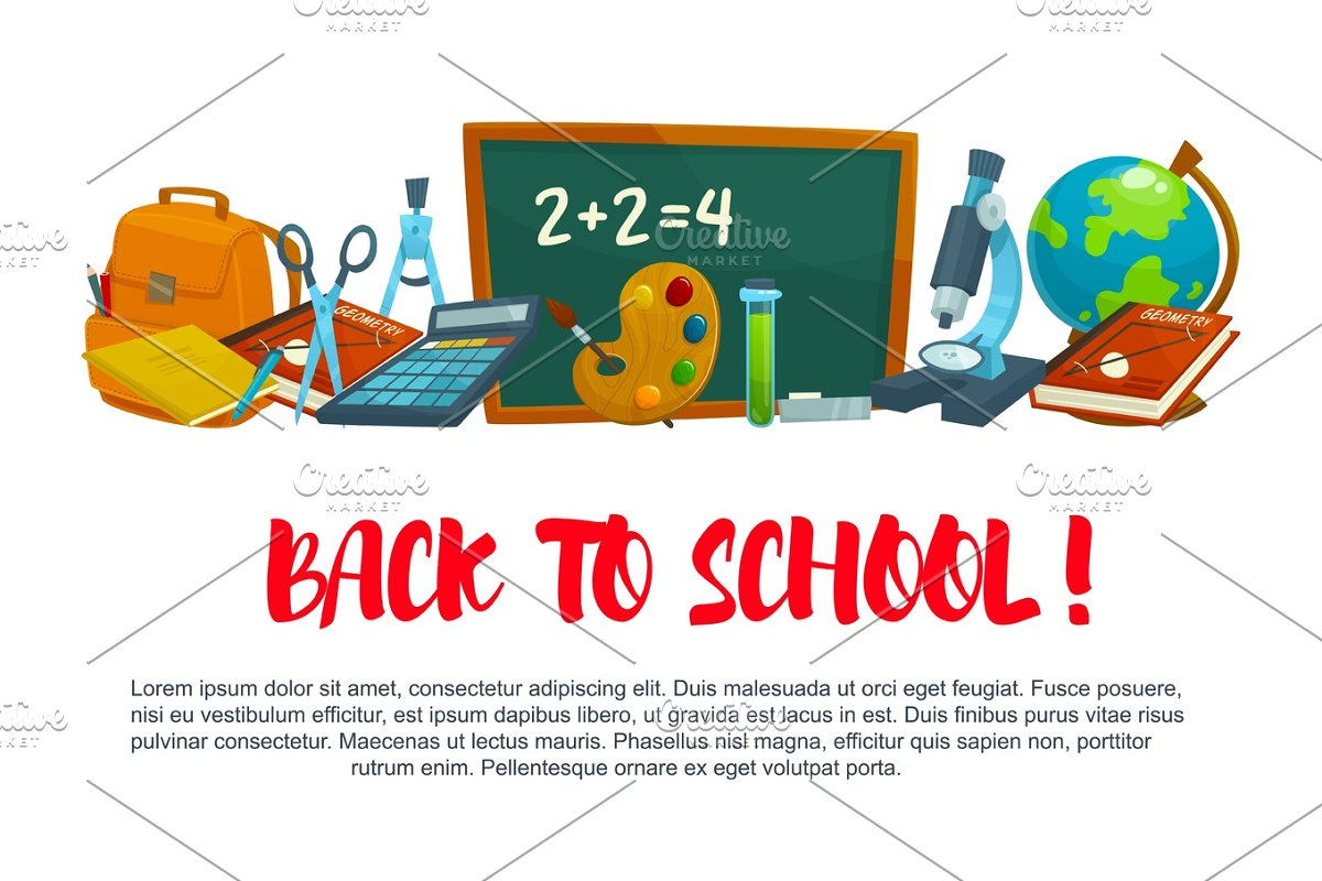 Back To School Vector Poster Template Illustrations Creative Market
