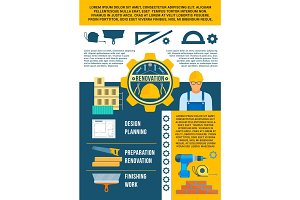Work tools vector poster for repair or renovation