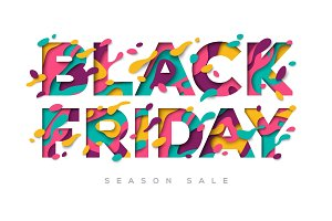 Black Friday Sale Poster with paper cut shapes