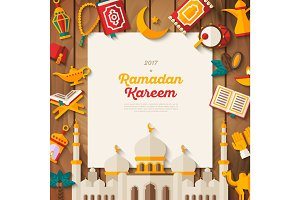 Ramadan Kareem concept banner on wood