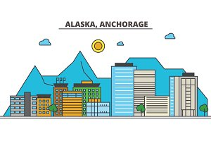Alaska, Anchorage.City skyline: architecture, buildings, streets, silhouette, landscape, panorama, landmarks, icons. Editable strokes. Flat design line vector illustration concept.