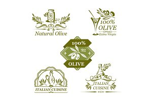 Vector olives icons for organic olive oil