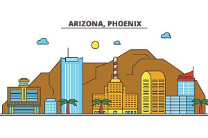 Arizona, Phoenix.City skyline: architecture, buildings, streets, silhouette, landscape, panorama, landmarks, icons. Editable strokes. Flat design line vector illustration concept.