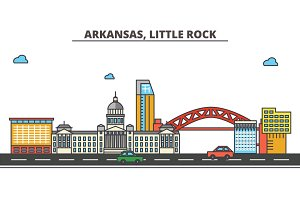 Arkansas, Little Rock.City skyline: architecture, buildings, streets, silhouette, landscape, panorama, landmarks, icons. Editable strokes. Flat design line vector illustration concept.
