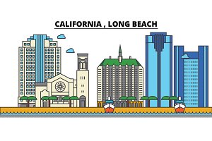 California, , Long Beach.City skyline: architecture, buildings, streets, silhouette, landscape, panorama, landmarks, icons. Editable strokes. Flat design line vector illustration concept.