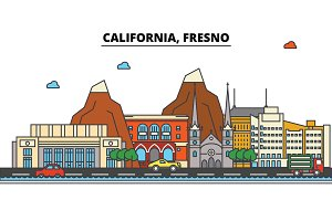 California, Fresno.City skyline: architecture, buildings, streets, silhouette, landscape, panorama, landmarks, icons. Editable strokes. Flat design line vector illustration concept.