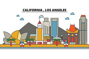 California, Los Angeles.City skyline: architecture, buildings, streets, silhouette, landscape, panorama, landmarks, icons. Editable strokes. Flat design line vector illustration concept.
