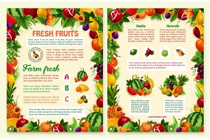 Vector brochure of tropical exotic fruits