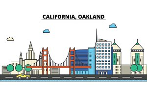 California, Oakland.City skyline: architecture, buildings, streets, silhouette, landscape, panorama, landmarks, icons. Editable strokes. Flat design line vector illustration concept.