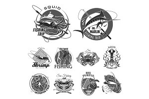 Vector icons set for fishing or fisher trip