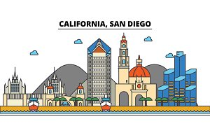 California, San Diego.City skyline: architecture, buildings, streets, silhouette, landscape, panorama, landmarks, icons. Editable strokes. Flat design line vector illustration concept.