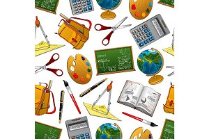 Back to school vector seamless pattern