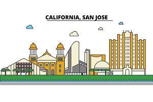 California, San Jose.City skyline: architecture, buildings, streets, silhouette, landscape, panorama, landmarks, icons. Editable strokes. Flat design line vector illustration concept.