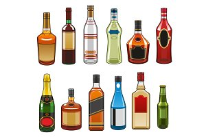 Vector icons of alcohol drinks bottles
