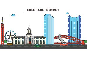 Colorado, Denver.City skyline: architecture, buildings, streets, silhouette, landscape, panorama, landmarks, icons. Editable strokes. Flat design line vector illustration concept.