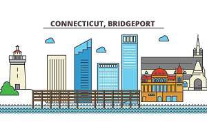 Connecticut, Bridgeport.City skyline: architecture, buildings, streets, silhouette, landscape, panorama, landmarks, icons. Editable strokes. Flat design line vector illustration concept.
