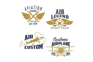 Aviation retro airplane sport team vector icons