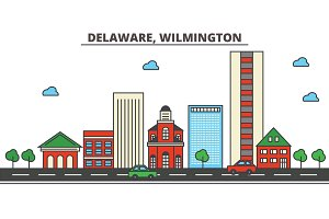 Delaware, Wilmington.City skyline: architecture, buildings, streets, silhouette, landscape, panorama, landmarks, icons. Editable strokes. Flat design line vector illustration concept.