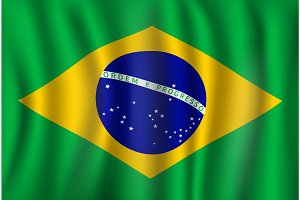 Vector flag of Brazil. Brazilian national symbol