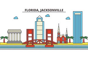 Florida, Jacksonville.City skyline: architecture, buildings, streets, silhouette, landscape, panorama, landmarks, icons. Editable strokes. Flat design line vector illustration concept.