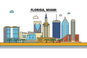 Florida, Miami.City skyline: architecture, buildings, streets, silhouette, landscape, panorama, landmarks, icons. Editable strokes. Flat design line vector illustration concept.