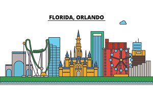 Florida, Orlando.City skyline: architecture, buildings, streets, silhouette, landscape, panorama, landmarks, icons. Editable strokes. Flat design line vector illustration concept.