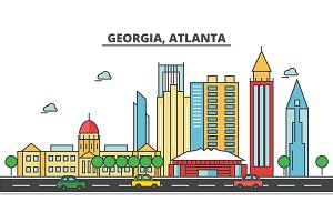 Georgia, Atlanta.City skyline: architecture, buildings, streets, silhouette, landscape, panorama, landmarks, icons. Editable strokes. Flat design line vector illustration concept.