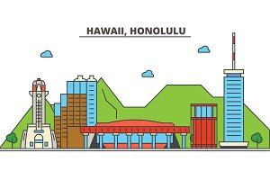 Hawaii, Honolulu.City skyline: architecture, buildings, streets, silhouette, landscape, panorama, landmarks, icons. Editable strokes. Flat design line vector illustration concept.