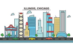 Illinois, Chicago.City skyline: architecture, buildings, streets, silhouette, landscape, panorama, landmarks, icons. Editable strokes. Flat design line vector illustration concept.