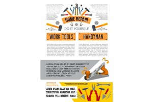 Vector work tools poster for home repair