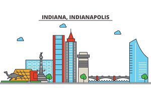 Indiana, Indianapolis.City skyline: architecture, buildings, streets, silhouette, landscape, panorama, landmarks, icons. Editable strokes. Flat design line vector illustration concept.