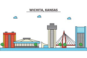 Kansas, Wichita.City skyline: architecture, buildings, streets, silhouette, landscape, panorama, landmarks, icons. Editable strokes. Flat design line vector illustration concept.