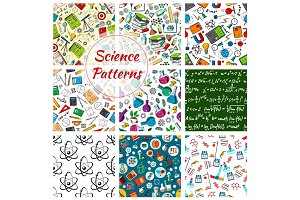 Vector science seamless patterns set
