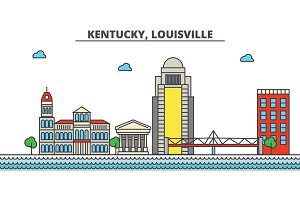 Kentucky, Louisville.City skyline: architecture, buildings, streets, silhouette, landscape, panorama, landmarks, icons. Editable strokes. Flat design line vector illustration concept.