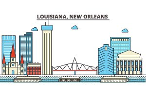 Louisiana, New Orleans.City skyline: architecture, buildings, streets, silhouette, landscape, panorama, landmarks, icons. Editable strokes. Flat design line vector illustration concept.