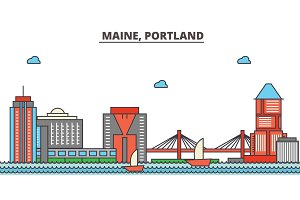 Maine, Portland.City skyline: architecture, buildings, streets, silhouette, landscape, panorama, landmarks, icons. Editable strokes. Flat design line vector illustration concept.